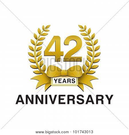 42nd anniversary golden wreath logo