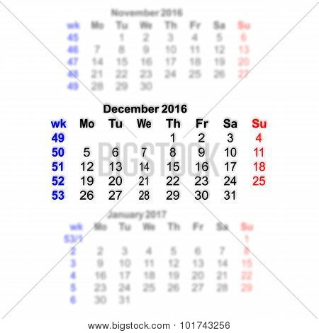 December 2016 Calendar Week Starts On Monday