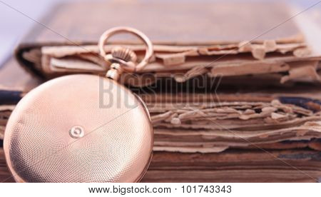 Vintage pocket watch closeup