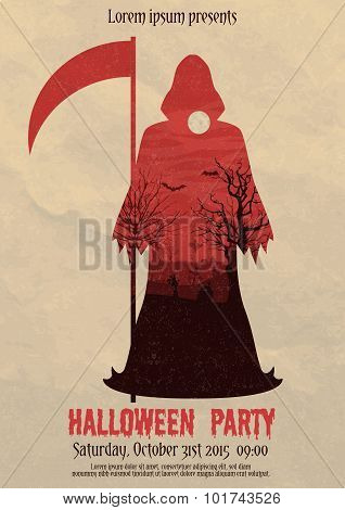 Vintage Halloween party death poster