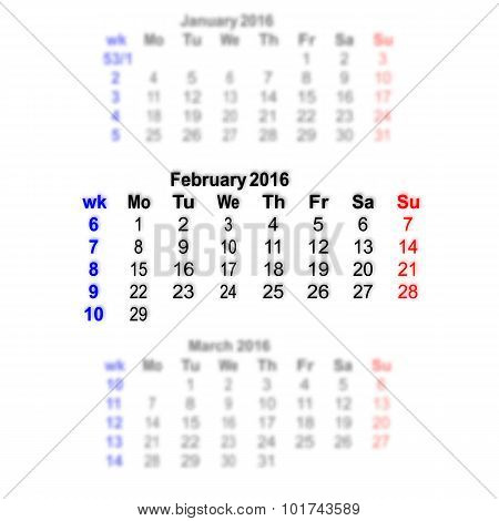 February 2016 Calendar Week Starts On Monday