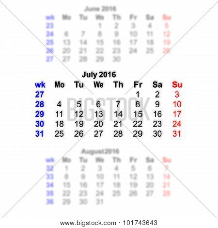 July 2016 Calendar Week Starts On Monday