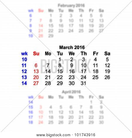 March 2016 Calendar Week Starts On Sunday