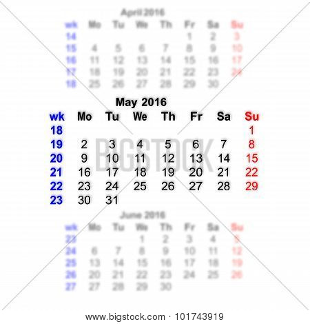 May 2016 Calendar Week Starts On Monday
