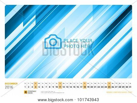 Wall Monthly Line Calendar For 2016 Year. Vector Design Print Template. Landscape Orientation. Decem