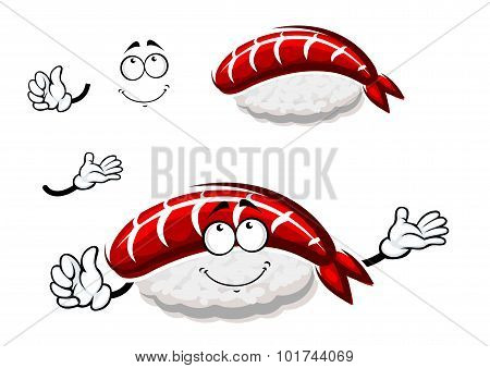 Cartoon nigiri sushi with marinated shrimp