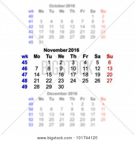 November 2016 Calendar Week Starts On Monday