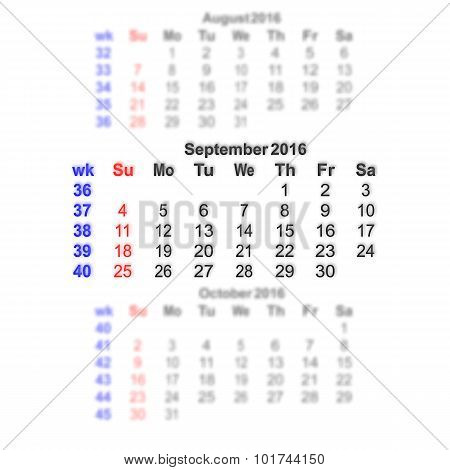 September 2016 Calendar Week Starts On Sunday