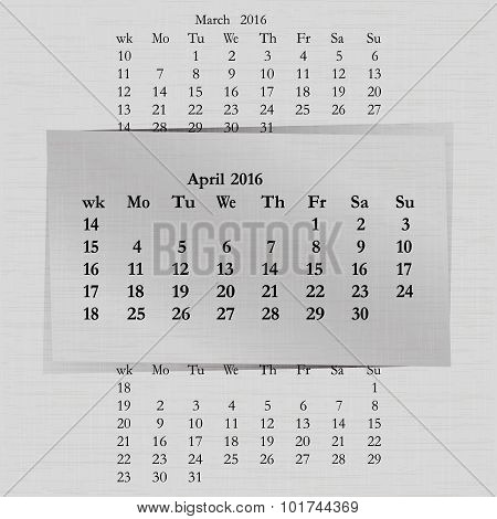 Calendar Month For 2016 Pages April Start Monday