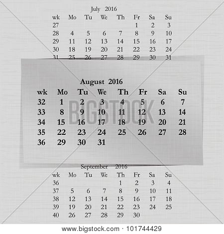 Calendar Month For 2016 Pages August Start Monday