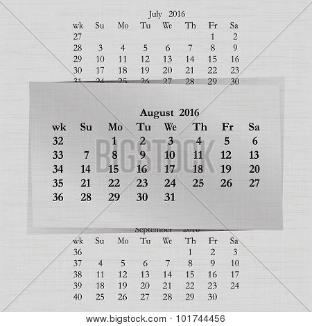Calendar Month For 2016 Pages August