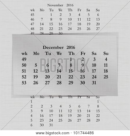 Calendar Month For 2016 Pages December Start Monday