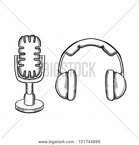 Retro headphones and desktop microphone