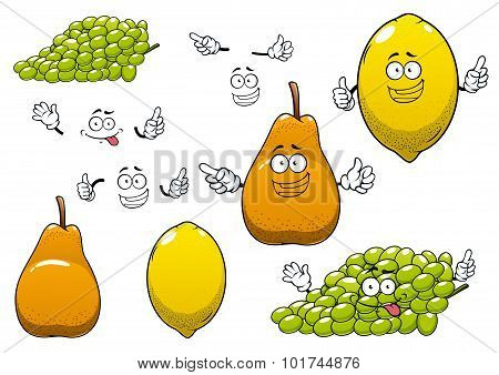 Lemon, green grape and pear fruits