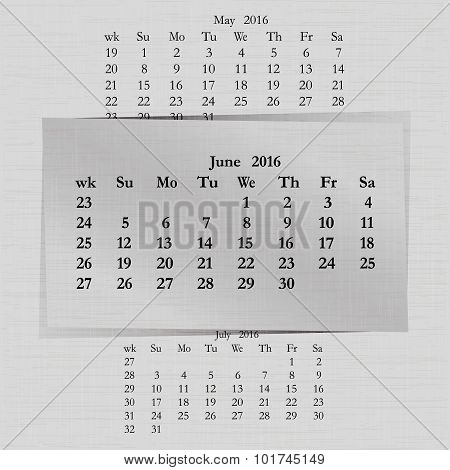 Calendar Month For 2016 Pages June