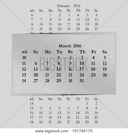 Calendar Month For 2016 Pages March