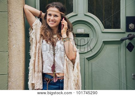 Happy Woman Wearing Bohemian Style Clothes Talking Cell Phone