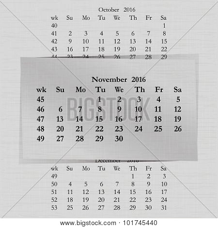 Calendar Month For 2016 Pages November