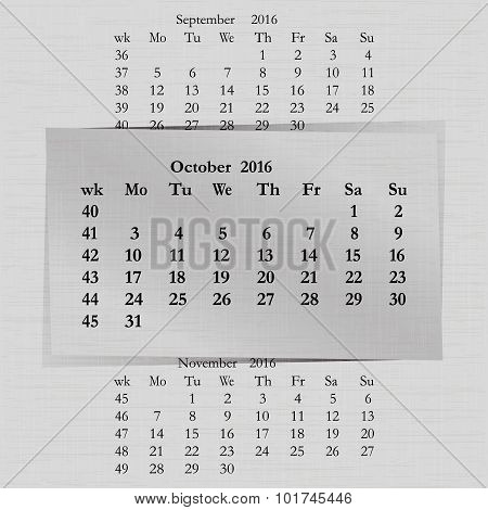 Calendar Month For 2016 Pages October Start Monday