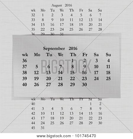 Calendar Month For 2016 Pages September Start Monday