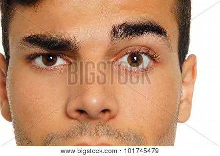 Man with a raised one eyebrow