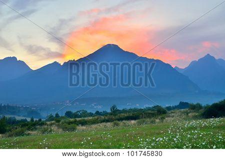 Summer sunset mountain landscape.