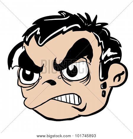 angry boy head cartoon illustration