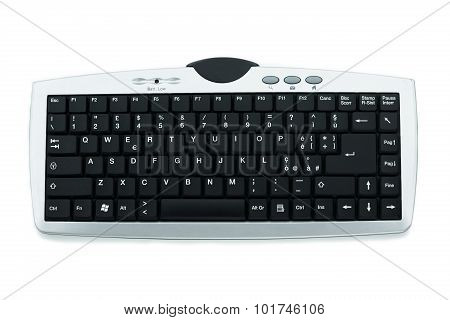 Computer keyboard isolated on white, Close up keyboard or electronic equipment, Electronic object.