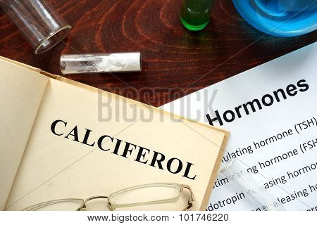 Hormone calciferol written on book.