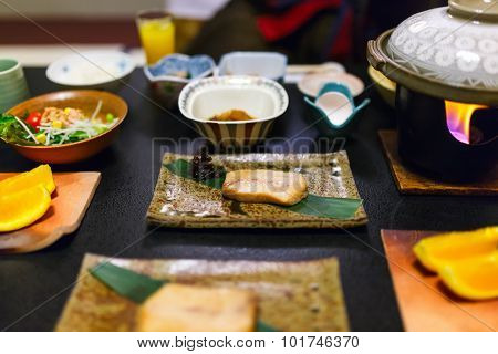 Traditional Japanese breakfast of Nagano region food