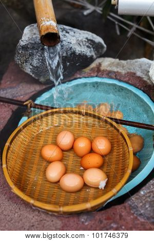Soft boiled eggs cooked at hot spring water