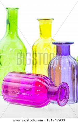 Glass bottles isolated on white background, Colorful glass set on white background, Glass for fresh