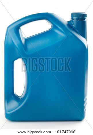 Plastic containers for motor oil is isolated on a white background.