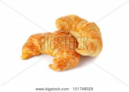 Golden Croissant On White Background