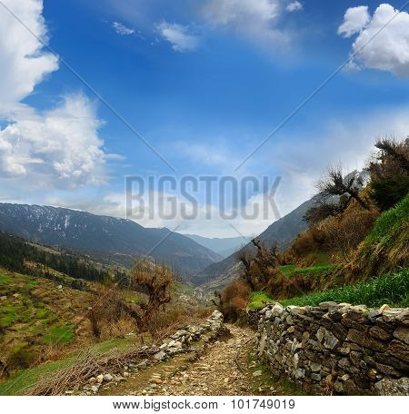 Valley Between Mountains Ridges