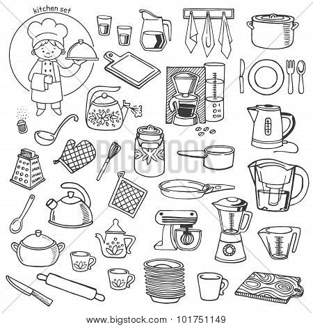 Kitchen Utensils And Appliances Vector Icons Set