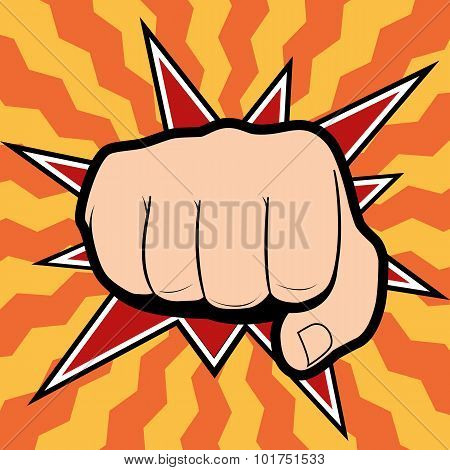 Vector of punching hand with a clenched fist aimed directly at the viewer  isolated on colored backg