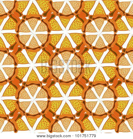 Orange background. Bright seamless pattern . Hand drawn vector for fabric, textile, wrapping and pac