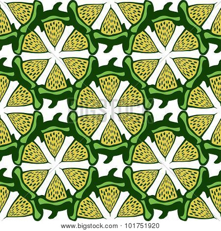 Lime background. Green seamless pattern . Hand drawn vector for fabric, textile, wrapping and packag