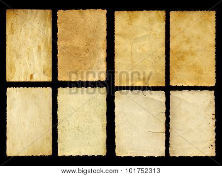 Concept or conceptual old vintage paper background set or collection isolated on black background