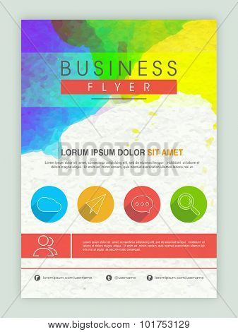 Creative colorful professional template, banner or flyer design for business reports.