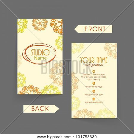 Colorful floral decorated, vertical business card, visiting card or name card with front and back view.
