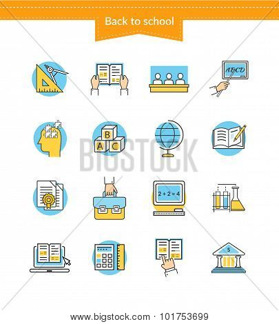 Set of Icons Back to School Flat Style