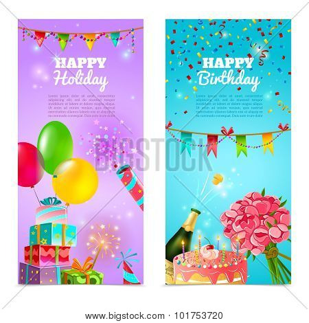 Happy birthday holiday celebrration banners set