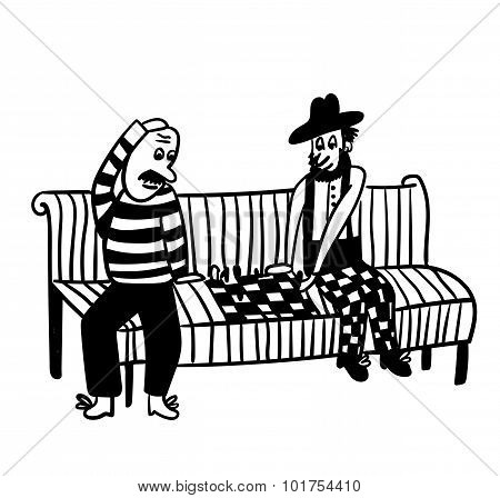 bald guy and the guy in the hat playing chess on a park bench comic vector illustration