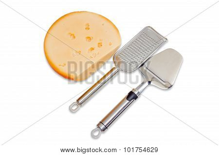 Piece Of Cheese, Cheese Slicer And Grated