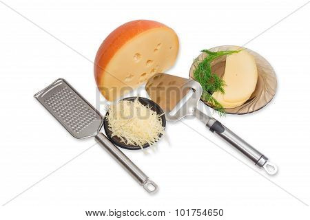 Piece Of Cheese, Sliced And Grated Cheese, Cheese Slicer, Grater