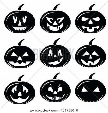 Scary Halloween pumpkins characters icons set in black and white
