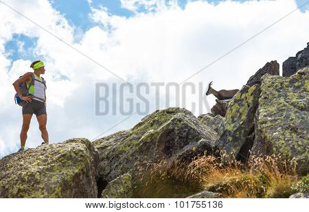 Woman Hiker Stops To Watch An Ibex