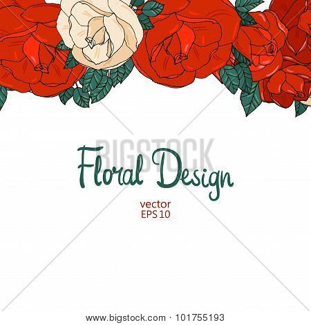 Vintage border with roses
